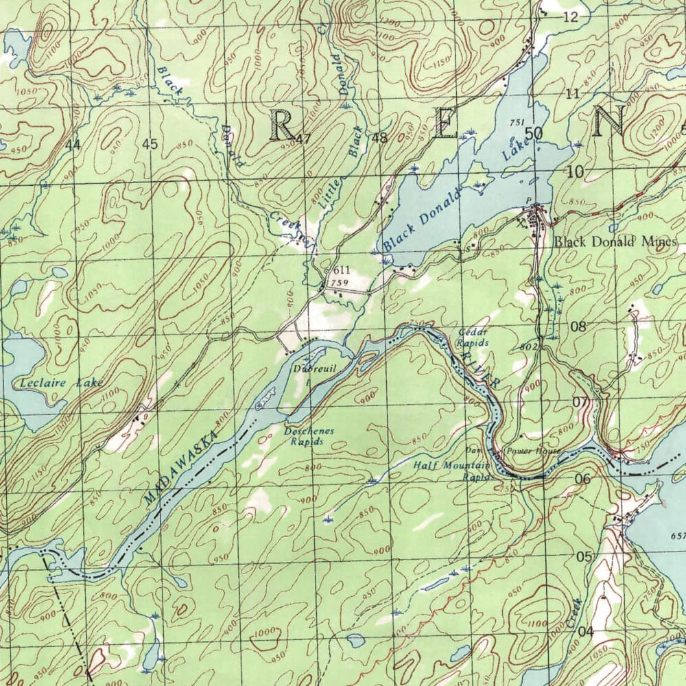 Map of Black Donald Lake Before Flooding in 1967