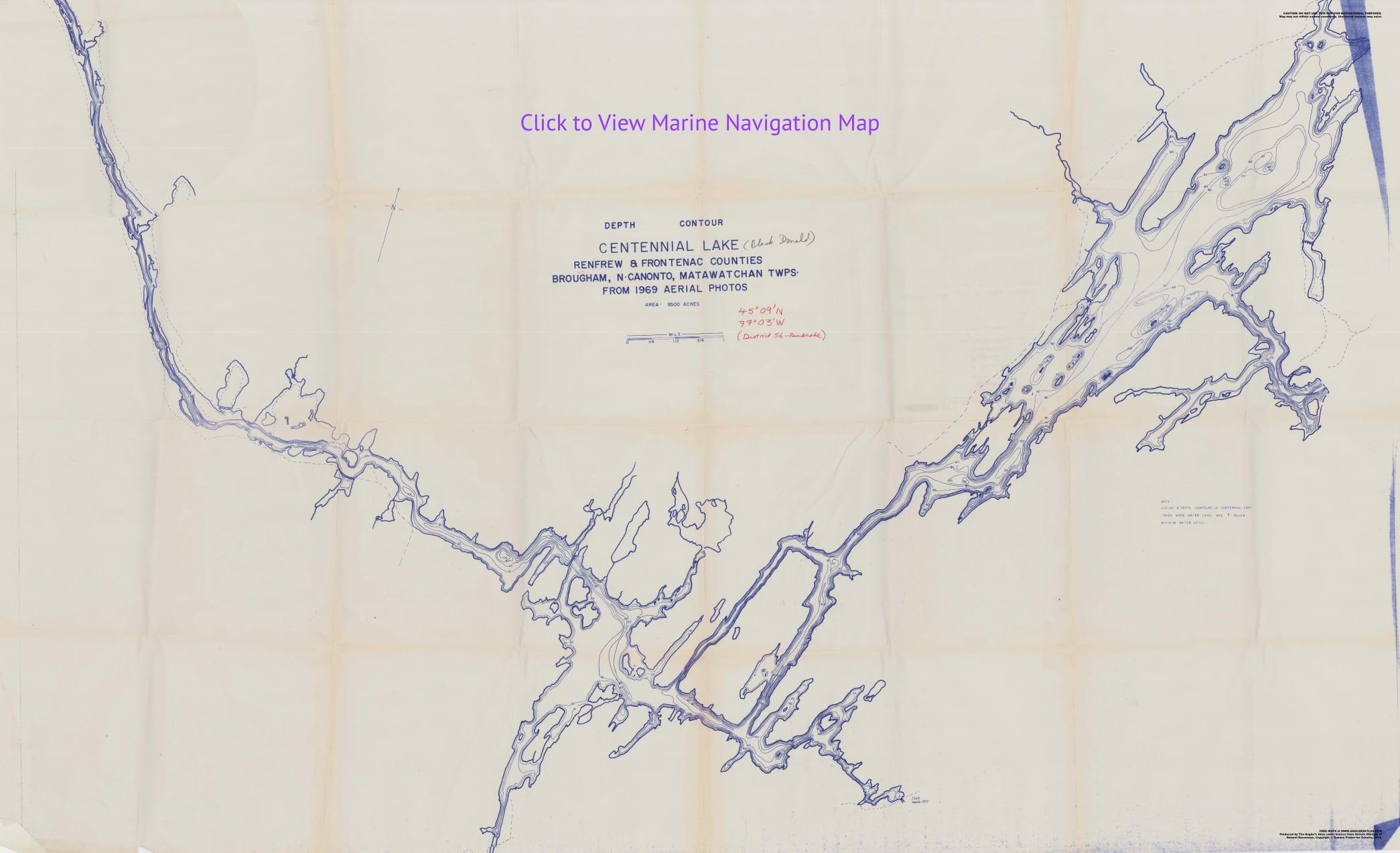depth contour map of Black Donald and Centennial Lake