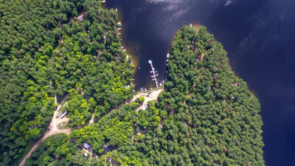 aerial view of dock at best campground in ontario