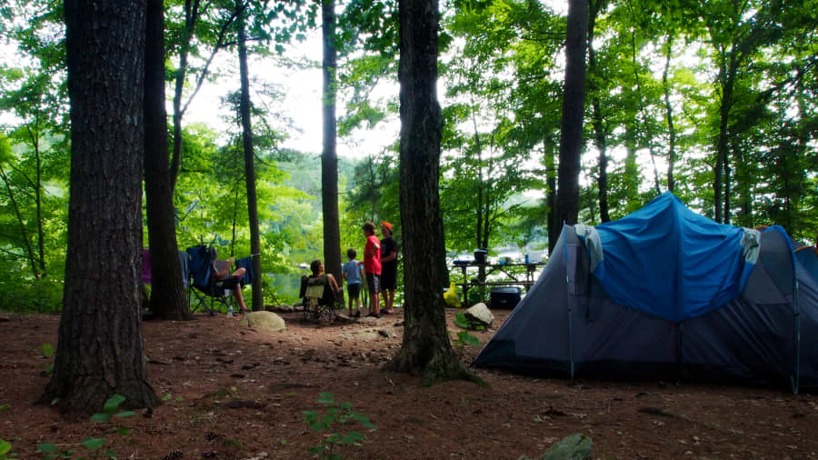 family camping under the shade of the trees with a blue tent and the lake visible in the background