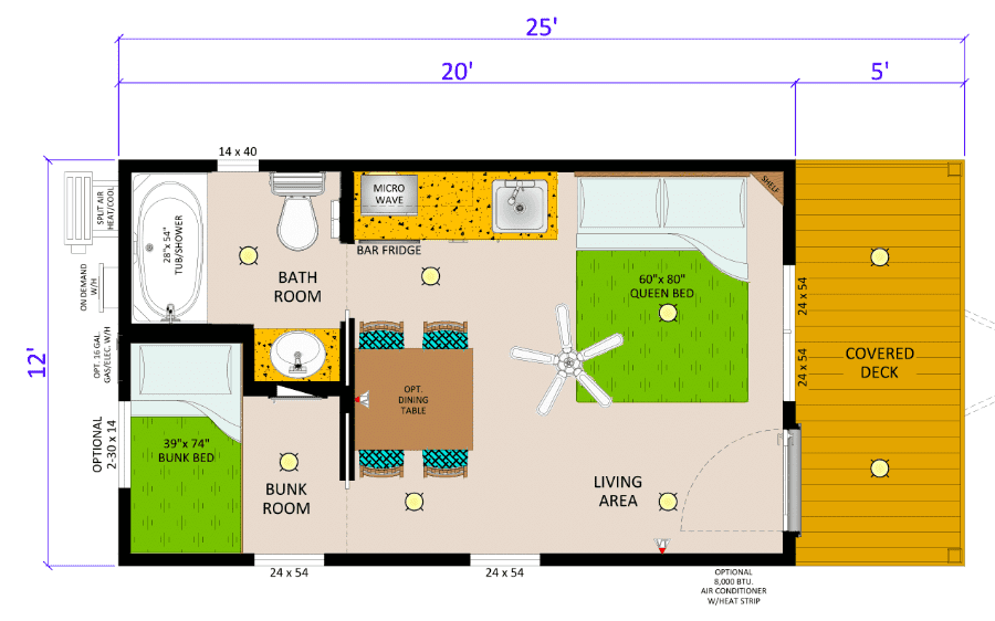 floor plan of sunset point cabin