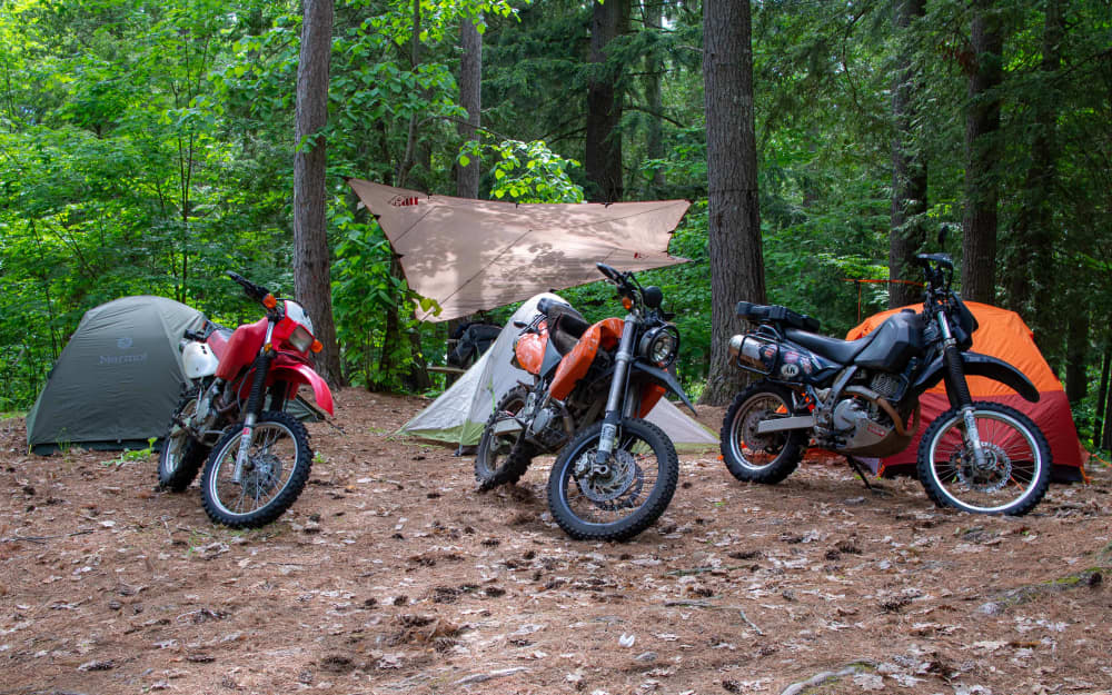 Honda, KTM, Suzuki DR650 at Black Donald Tent and Trailer Park in front of tents at campsite